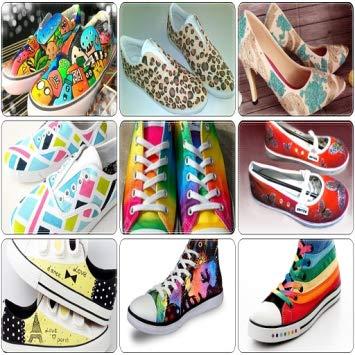 کفش های نقاشی شده با روش ها و سبک های مختلف